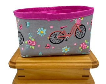 Bicycle Fabric Storage Bin, Fabric Basket, Storage Container, Gifts for Teens and Women, Nursery Decor, Gifts for mothers, Gift for Cyclists