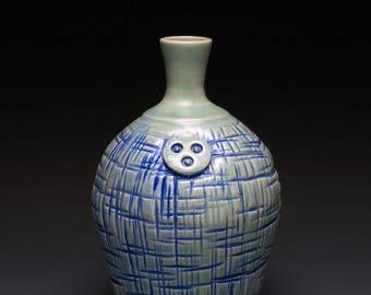 GreenTextured Button Ceramic Bottle, single flower vase