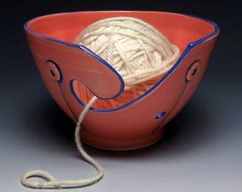 Flamingo Button Ceramic Yarn Bowl, Ceramic Knitting Bowl