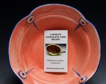 Flamingo Microwave Ceramic Cake Pan, with 5 Minute Chocolate Cake Recipe