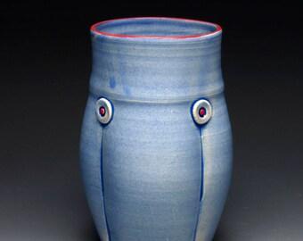 Small Blue Button Ceramic Vase