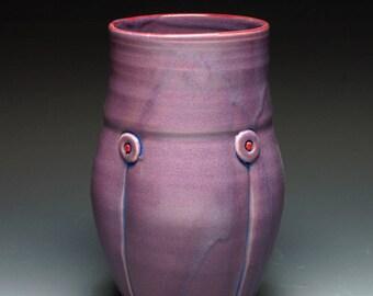 Small Purple Button Ceramic Vase