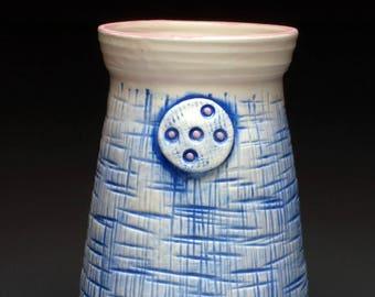 Pink Denim Ceramic Vase