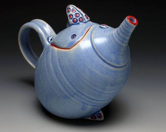 Periwinkle Blue Teapot with Spotted Lid, a decorative ceramic teapot, rattle lid