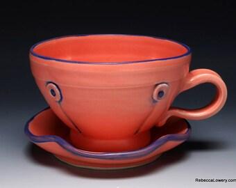 Flamingo Button Cup And Saucer Set,  Hand Thrown Tea Cup Set, 10oz
