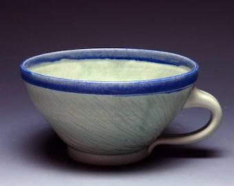 Green Textured Tea Cup, Hand Thrown Mug