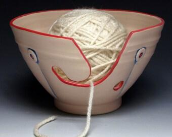 Pink Peach Button Ceramic Yarn Bowl, Ceramic Knitting Bowl