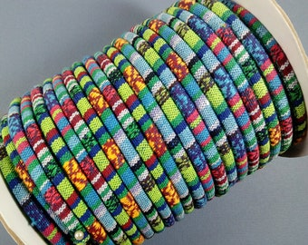 MONET'S GARDEN Colorful Ethnic Cloth Cord From KBeads, 6-7 MM, Sold by the Yard, Great for Pendant Necklaces or Bracelets