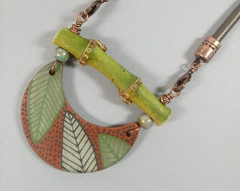 Ceramic Artist Created PENDANT NECKLACE, Reversible Crescent Pendant, Earthenware, Hand Painted Designs on Each Side, Great for Aromatherapy