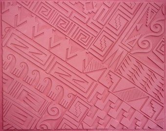 deep etched clay designed by Sandi Obertin UNMOUNTED RUBBER MAT 8x11 crafting fabric stamping vulcanized red rubber gel plate