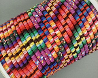 CALYPSO Colorful Ethnic Cloth Cords, 4 MM, Sold by the Yard, Great for Pendant Necklaces, Bracelets and Anything Else You Can Imagine!