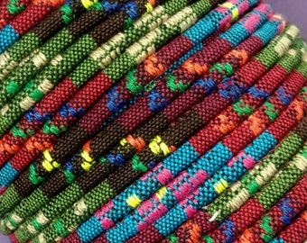 OLIVE & PIMENTO Colorful Ethnic Cloth Cord From KBeads, 4 MM, Sold by the Yard, Great for Pendant Necklaces or Wrap Bracelets
