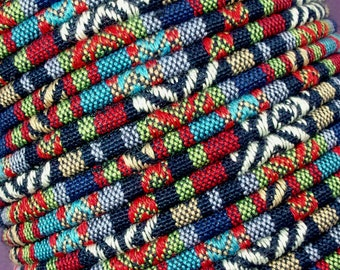 INDIGO Colorful Ethnic Cloth Cord From KBeads, 4 MM, Sold by the Yard, Great for Pendant Necklaces or Bracelets