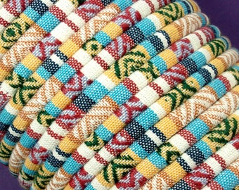 GOLD RUSH Colorful Ethnic Cloth Cord From KBeads, 6-7 MM, Sold by the Yard, Great for Pendant Necklaces or Bracelets