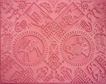 """PETROGLYPHS RUBBERSTAMP 7"""" X 9""""  Flexible Rubber Stamping Sheet, Hand Drawn Images From Ancient New World Civilizations, Reflective Symmetry"""