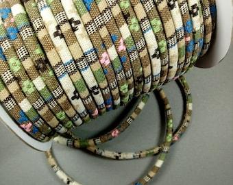 FAUNA Natural Tans, Turquoise & Mint Green 6-7 MM Ethnic Cloth Cord, Sold by the Yard, Great for Pendant Necklaces and Wrapped Bracelets