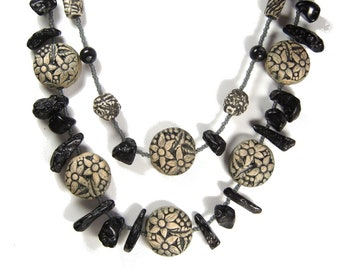 Ceramic Artist Created Double Strand NECKLACE of Betty-O Floral Stoneware Beads, Tektite Meteor Shower Bead Accents and a Toggle Closure