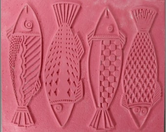 """The FOUR FISHES RUBBERSTAMP 7"""" X  9"""" Unmounted Rubber Stamping Sheet, Intaglio Hand Drawn Image, Can Be Cut to Create Individual Fish Stamps"""
