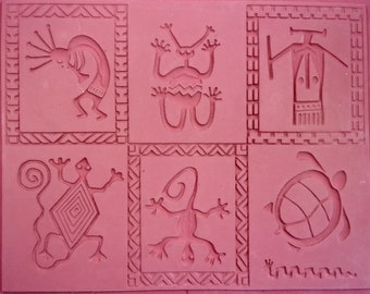 """RUBBERSTAMP 7"""" X  9"""" SOUTHWEST PATCHWORK Unmounted Flexible Stamp Sheet, Intaglio Hand Drawn Images, Matches Side to Side and Top to Bottom"""