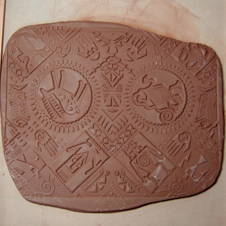 PETROGLYPHS Unmounted Rubber Stamp Sheet Size 7 by 9 Reflective Symmetry Intaglio Hand Drawn Image Deep Clean Impression