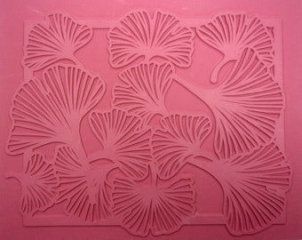 """Bordered GINGKO RUBBERSTAMP 7"""" X  9"""" Unmounted Flexible Stamping Sheet, Intaglio Hand Drawn Image, Self Contained Border, Clean Crisp Lines"""