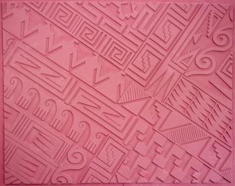 "RUBBERSTAMP 7"" X 9"" SOUTHWEST BORDER Motifs Unmounted Flexible Sheet, Intaglio Hand Drawn Image, Angular Symmetry, Deep Clean Impression"