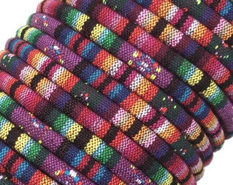 CALYPSO Colorful Ethnic Cloth Cords, 6-7 MM, Sold by the Yard, Great for Pendant Necklaces, Bracelets and Anything Else You Can Imagine!