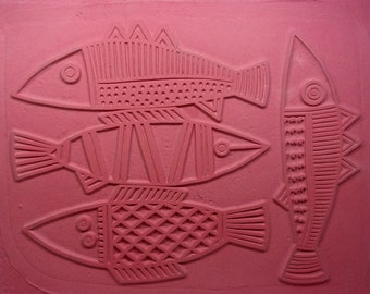"""RUBBERSTAMP 7"""" X  9"""" THREE FISHES and a Friend, Unmounted Flexible Sheet, Crisp Deep Impressions, Can Be Cut Apart and Used Individually"""