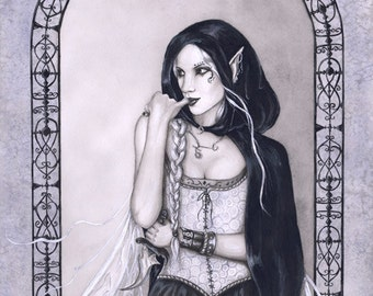 Gothic Fairy ORIGINAL PAINTING Corset Assassin Knife Watercolor