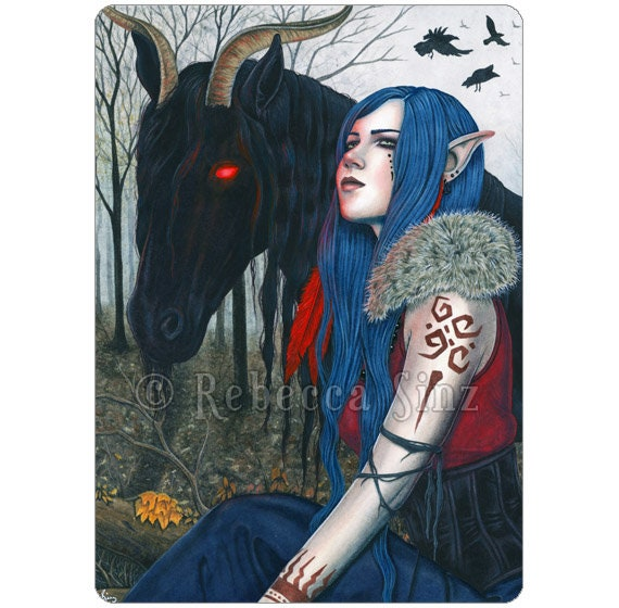 ATC ACEO Werewolf Print  Fantasy Art Card