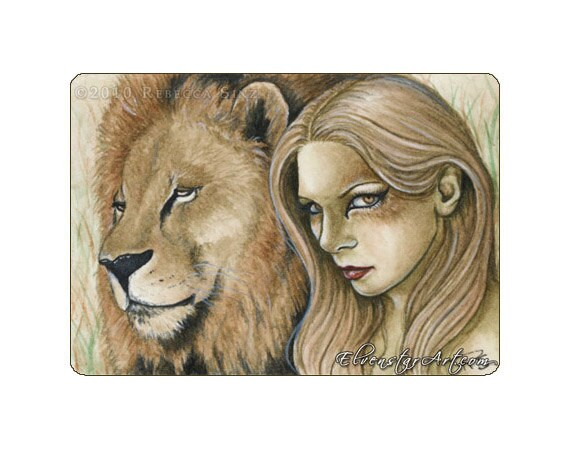 Animal art,Gift for nature lovers Dad and me ACEO Limited Edition Lion