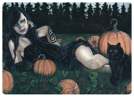 Gothic Fantasy Art ACEO PRINT Pumpkins Halloween Cat