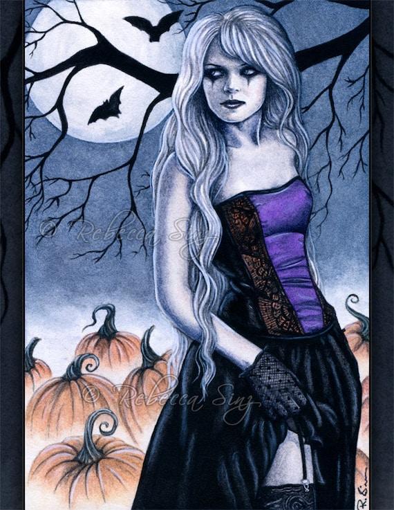 Gothic Halloween Fantasy Art ACEO PRINT pumpkins ghosts