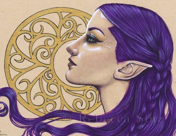 ACEO PRINT Moon Goddess Stars Celestial Night Sky Woman WC Fantasy art