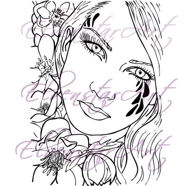 DIGI Stamp Printable Scrapbooking Card Making Crafts Fantasy Fairy Flowers Black Hellebore Tattoo Portrait Digital Stamp Download Coloring