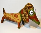 Sausage Dog autumn corduroy colours handmade plush sausagedog