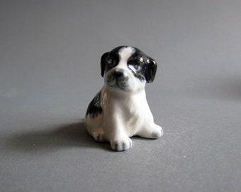 Baby Bernard Dog Miniature Ceramic Animal Figurine Black White Spaniel Puppy Small Statue Collectible Dog Porcelain Figures Decor Gifts