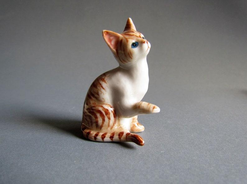 Mini Tiny Black White Striped Cat Dollhouse Miniature Ceramic Animal Figurines