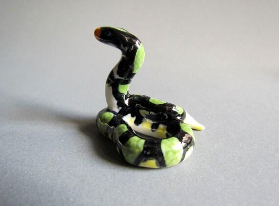 Animal Ceramic Figurine Python Snake Handmade Tiny Green Snake Collectible Gift