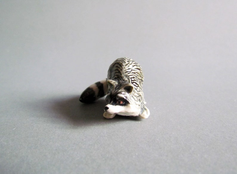 Miniauture Raccoon Ceramic Porcelain Animal Figurine Collectible Decor Black White Grey Countryside Cute Little Tiny Small Statue Sculpture