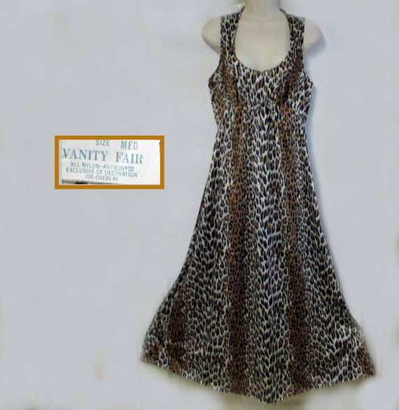 Vanity Fair vintage nylon leopard nightgown size m