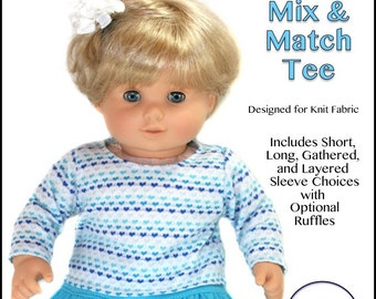 """cutie pie & me Baby Mix and Match tee doll clothes pattern for 15"""" baby dolls PDF"""