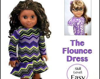 "cutie pie & me Flounce Dress doll clothes pattern for 18"" dolls PDF"