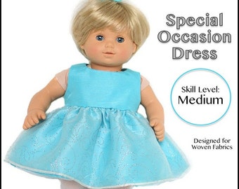 """cutie pie & me Special Occasion Dress doll clothes pattern for 15"""" baby dolls PDF"""