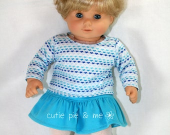 """Heart shirt and ruffle skirt outfit for 15"""" dolls such as Bitty Baby™"""