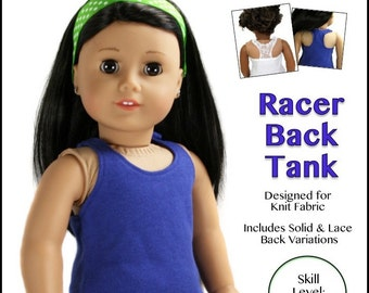 """cutie pie & me Racer Back Tank doll clothes pattern for 18"""" doll PDF"""