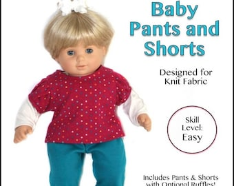 """cutie pie & me Baby Pants and Shorts doll clothes pattern for 15"""" baby dolls PDF"""