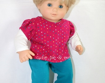 """Cute knit pants and layered shirt fit 15"""" baby dolls"""