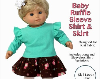 """cutie pie & me Baby Ruffle Sleeve Shirt and Skirt doll clothes pattern for 15"""" dolls PDF"""