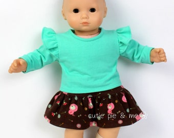 """Ruffle shirt and skirt outfit for 15"""" baby dolls such as Bitty Baby"""
